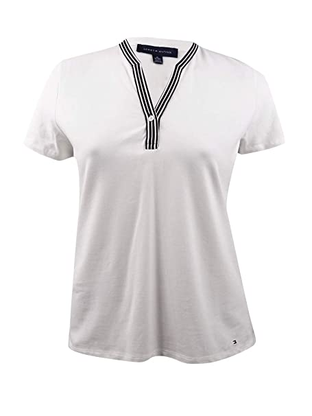 Tommy Hilfiger Women's Contrast Trim Short Sleeve Top