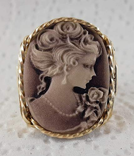 Fine Lady with rose Large Cameo .925 Sterling Silver Ring or 14k Gold gf Art Jewelry HGJ