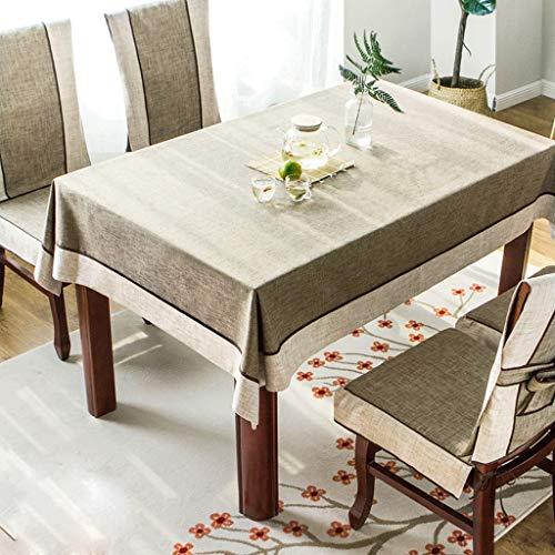 Dark marron 140X180cm Nappe- Nappe Tissu Jardin Coton Et Lin Table Basse Nappe Rectangulaire Table à Manger En Tissu Chaise Couverture Coussin Ensemble (Couleur   Dark marron, Taille   140X180cm)