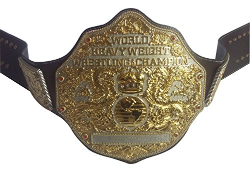 Fandu Belts World Unisex Adult Heavyweight Wrestling Belt Dark Brown Real Leather Birthday Gift by Fandu Belts