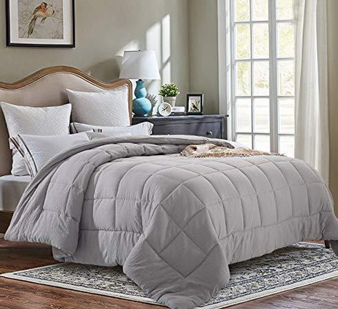 Hemau Premium New Soft All Season Pre Washed Soft Microfiber White Goose Down Alternative Comforter (Grey, Twin)   Style 503193775