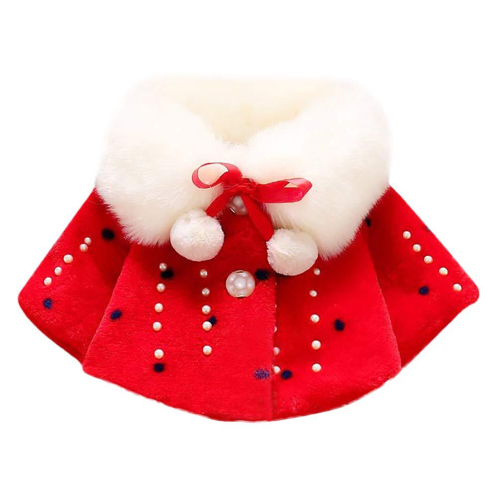 VENMO Baby Mädchen Faux Pelz Warm Winter Cape Cloak Mantel Outwear Winterjacke Kinderjacken Fell Warm Winter Jacke Dicke warme Kleidung Oberbekleidung Outerwear Steppjacke (0-24Monate)