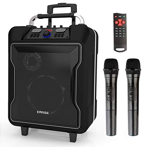 EARISE M60 Portable PA System Bluetooth Loudspeaker with 2 Wireless Microphone,10
