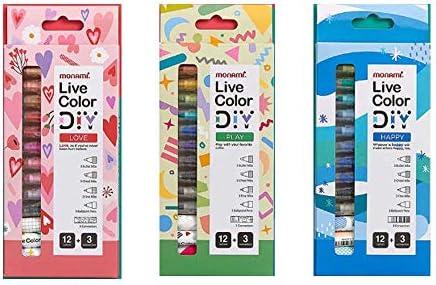 Monami Live Colors DIY Pens 3 Set/Love(12 Color Pens 3 Connectors)/Play(12 Color Pens 3 Connectors)/Happy(12 Color Pens 3 Connectors)