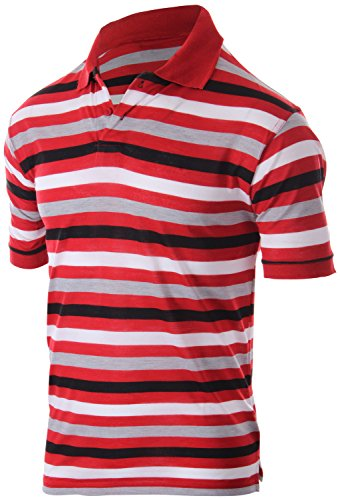 Enimay Men's Classic Fit Striped Polo T-Shirt Short Sleeve (Many Colors Available) 1810 - Red | Black (Classic Striped Striped Polo Shirt)