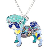 Bonsny Love Heart Enamel Zinc Alloy Metal Pug Dog Necklace Bulldog Animal pendant 18