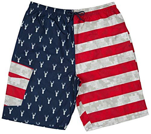 North 15 Men's USA American Flag Dear Design Microfiber Swim Trunk Boardshorts with Cargo Pocket-7112-Print1-L ()