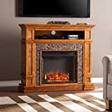 Southern Enterprises Belleview Faux Stone Fireplace TV Stand in Sienna