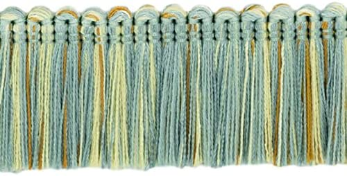 |Style#: 0175HB|Color: 5939 D/ÉCOPRO 5 Yard Value Pack of Brush Fringe Trim|1 3//4 inch 45mm Silver Blue, Gold, Off White - Island Breeze