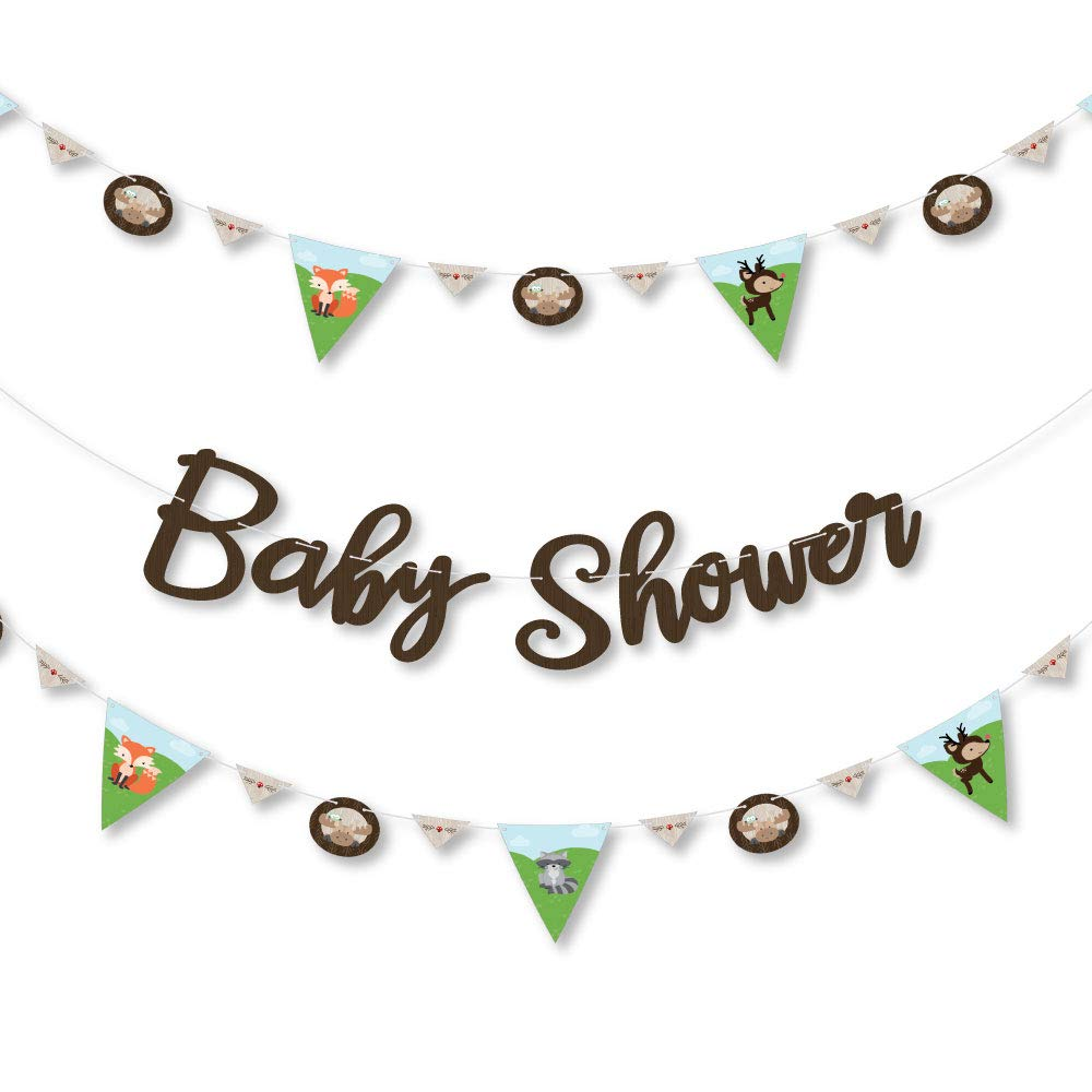 Big Dot of Happiness Woodland Creatures 36 Banner Cutouts and Baby Shower Banner Letters Baby Shower Letter Banner Decoration