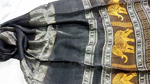 Thai Silk Women Scarf Shawl Wral Pashmina Blue Gold silver Elephant gift Shantung Shawl