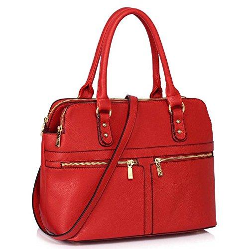 LeahWard® Femme Sacs Fourre-Tout Celeb Style Élégance Sacs À Main 3 Compartments Gret Sac 250 Rouge A