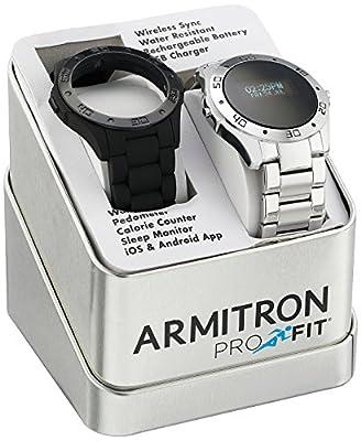 Armitron Men's 20/5078SET Digital Pro-Fit Interchangeable Black Silicone Strap and Silver-Tone Bracelet Watch Set