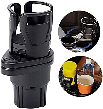 20 oz Bottles Drink Coffee Bracket Black1 Universal Car Cup Holder Expander Adapter,2 in 1 Multifunctional Dual Cup Mount Extender with 360/° Rotating Adjustable Base to Hold Most 17oz