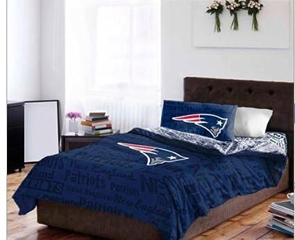 New England Patriots Reina colcha y juego de sábanas (5 piezas ropa de cama)
