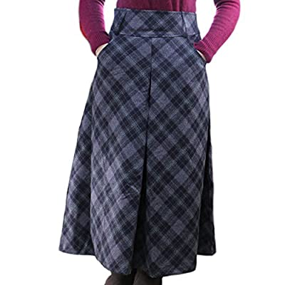 Women's Fall Winter Plaid Pleated Warm Thicken Wool Woolen Long Skirt Skirts