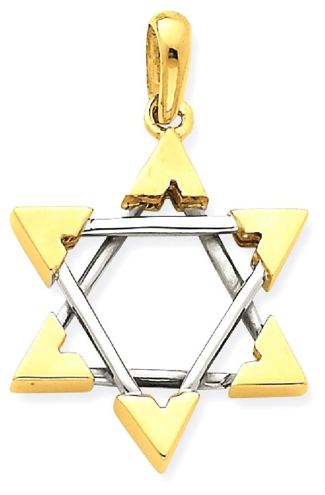 ICE CARATS 14k Two Tone Yellow Gold Jewish Jewelry Star Of David Pendant Charm Necklace Religious Judaica Fine Jewelry Gift Set For Women Heart