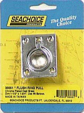 FLUSH RING 1-1/2 x 1-3/4 BRASS - Seachoice Flush Ring Pull