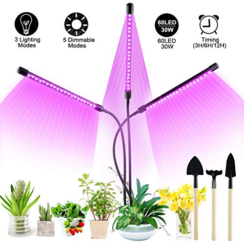 Grow Light for Indoor Plant, XINYI 60LEDs Growing Lamps 30W Plant Lights, Full Spectrum Triple Head Adjustable Gooseneck Grow Lamp Bulbs Auto ON & Off, 3/6/12H Timer 5 Mode Dimmable Levels