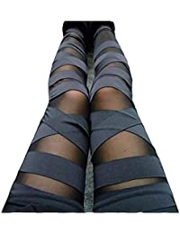 Women Girls Sexy Solid Color Bandage Mesh Leggings, Black, One Size