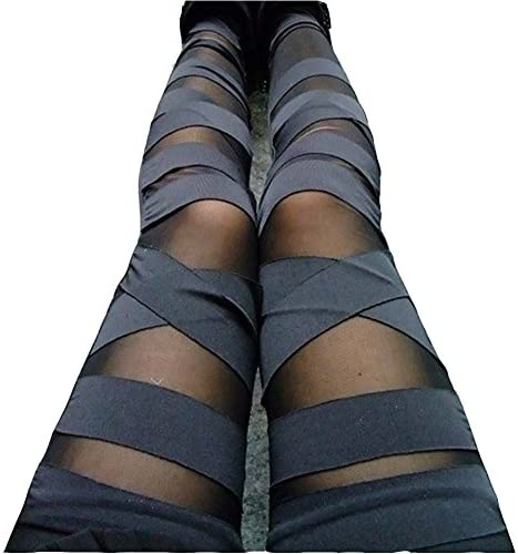 Dikoaina Women Girls Sexy Solid Color Bandage Mesh Leggings, Black, One Size