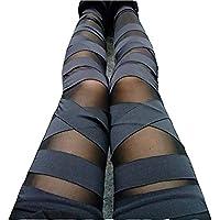 Dikoaina  Mujeres Niñas Sexy Sólido Color vendaje Malla Leggings, Talla única), color negro