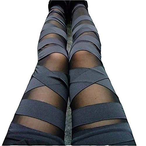 (Dikoaina Women Girls Sexy Solid Color Bandage Mesh Leggings, Black, One Size)