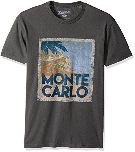 Zubaz Men's Global Cities Graphic T-Shirt, Charcoal Gray Monte Carlo, L