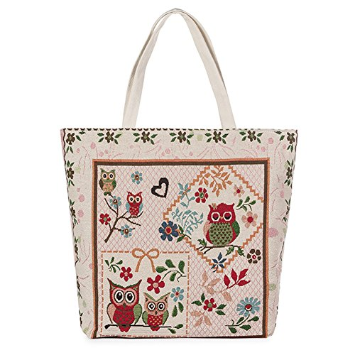 ParaCity Shopping White Beach Embroidery Bag Canvas Chinese Bag Shoulder Tote Totem Owl Satchel Pattern Tote Travel Handbag Casual Bag prxU7pBHq