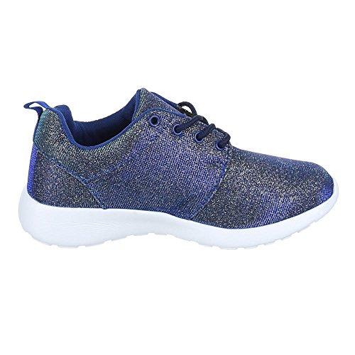 Ital-Design - Zapatillas de Material Sintético para mujer Azul - Blau Gold