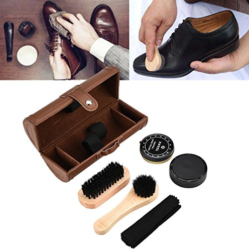 Shoe Care Kit, Brush Cleaner 6-Piece Travel Shoe Shine Brush Kit with Case Shoe Bucket, Polish, Brushes, Sponge Cloth (Brown) by Hometom
