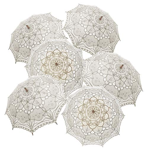 TopTie 6 PCS Lace Umbrellas Parasol Wedd...