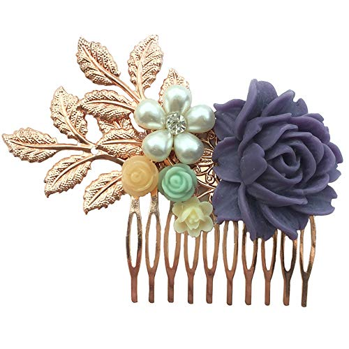 Aegenacess Rose Gold Wedding Brides Hair Decorative Comb Bridesmaid Gift - Purple Mint Green Ivory Cream Resin White Flowers-Leaf Floral Side Clip Vintage Blush Filigree Bridal Accessories for Women -