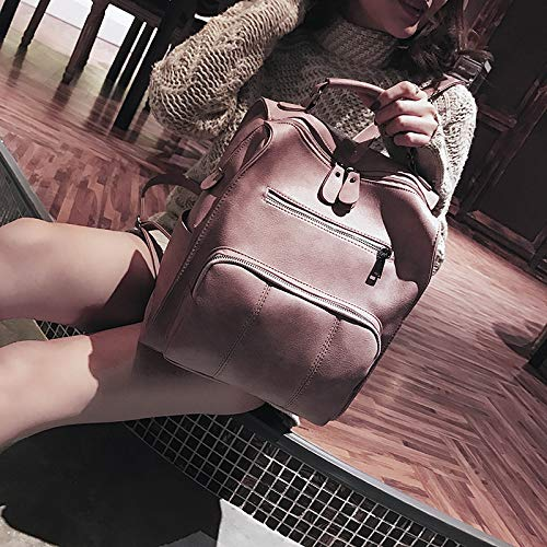 Estilo Pink Pu H36cm Mochila W26cm De Simple Retro Niña Popular Bolso Mujer Suave Ypsg Cuero T10cm Viaje Clásico grey HStgq0