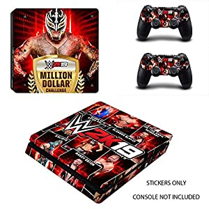 DECAL STICKER for PS4 Slim Console & 2 Controllers- WWE 2019 Rey Mysterio Edition