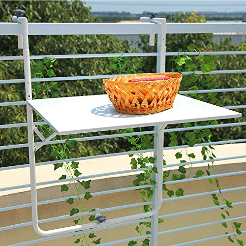 (Orange Casual Patio Balcony Table Railing Hanging Table Adjustable Outdoor Folding Serving Deck (White))