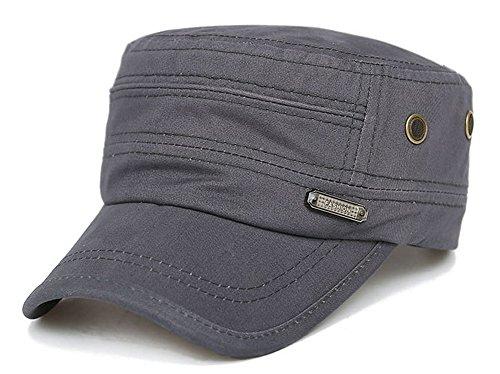 ChezAbbey Men's Adjustable Accent Cadet Hat Solid Brim Flat Top Cap Baseball Cap Peaked Cap