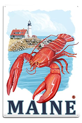 Maine - Lobster and Portland Lighthouse (12x18 Aluminum Wall Sign, Wall Decor Ready to (Lobster Portland Maine)