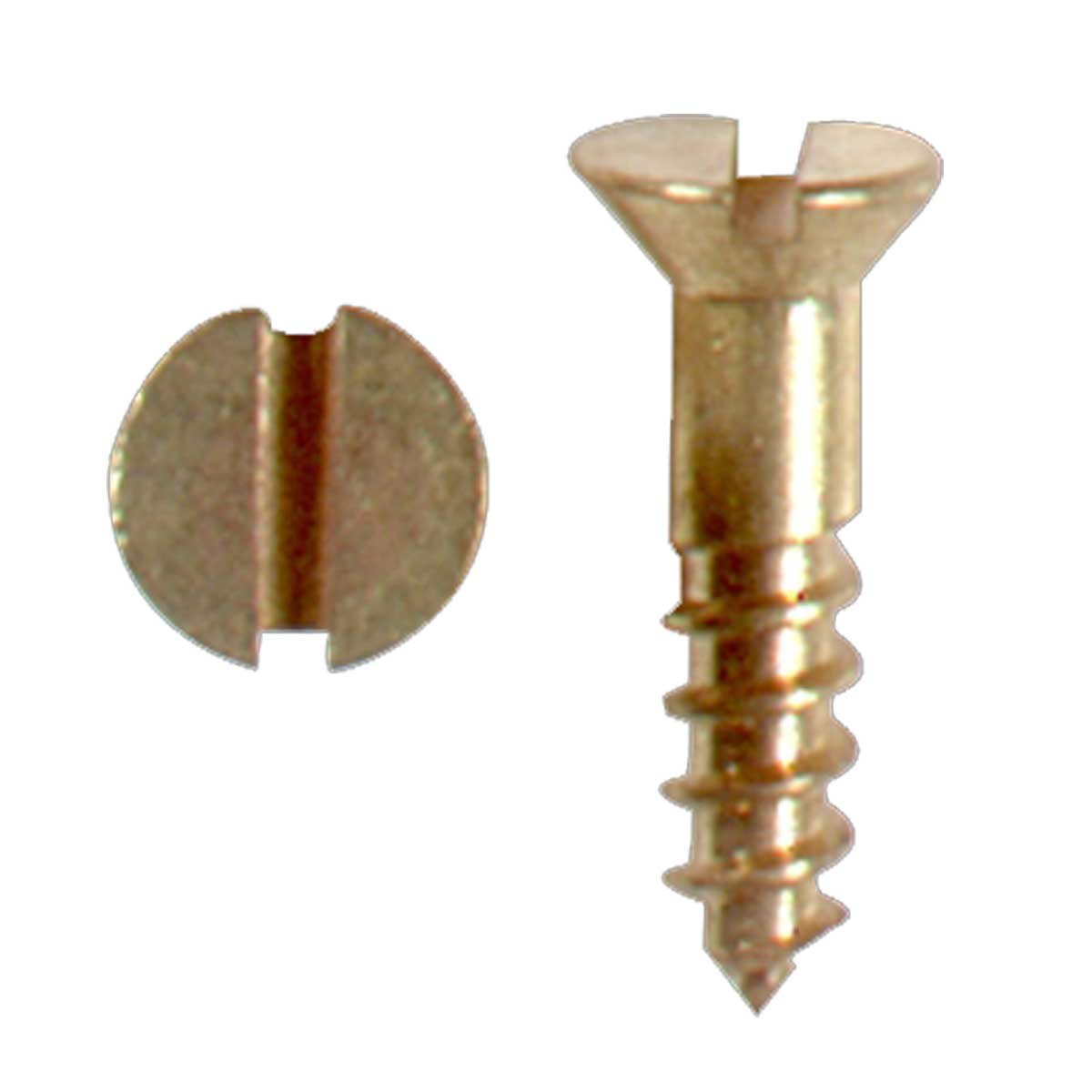 "#4 Brass Flat Head Wood Screws 1/2"" Qty 25 