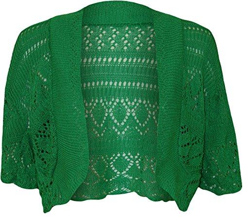 Manica A Maglia Coprispalle Corta 40 Cardigan Donna Bolero Crochet Aperto Crop 54 Green Top City® Da Fashion Donna Jade The Taglie qwFP78p