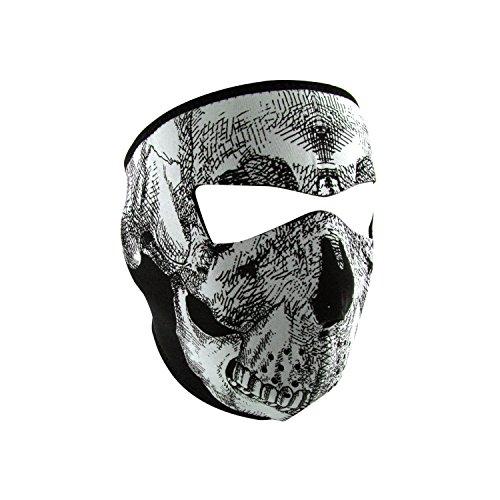 ZANheadgear Neoprene Black and White Skull Glow in the Dark