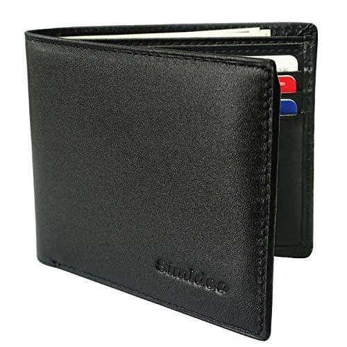 Simideo Men's Wallet TOP-GRAIN Genuine Leather Wallet RFID Blocking Bifold Trifold Slim Wallet with 2 ID Windows ()