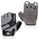 HTZPLOO Bike Gloves Bicycle Gloves Cycling Gloves Mountain Biking Gloves with Anti-Slip Shock-Absorbing Pad Breathable Half Finger Outdoor Sports Gloves for Men&Women (Grey, Small)