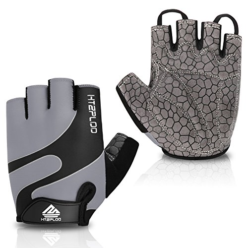 HTZPLOO Bike Gloves Bicycle Gloves Cycling Gloves Mountain Biking Gloves with Anti-Slip Shock-Absorbing Pad Breathable Half Finger Outdoor Sports Gloves for Men&Women (Grey, Large) ()