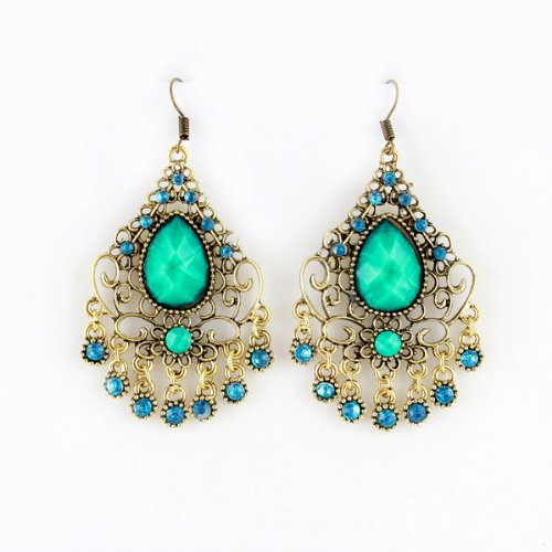 [FEELONTOP® Costume Jewelry Ethnic Style Antique Gold Color Alloy Green Imitation Gemstone Big Long Dangle Earrings and with Free Jewelry] (Ethnic Costume For Men)