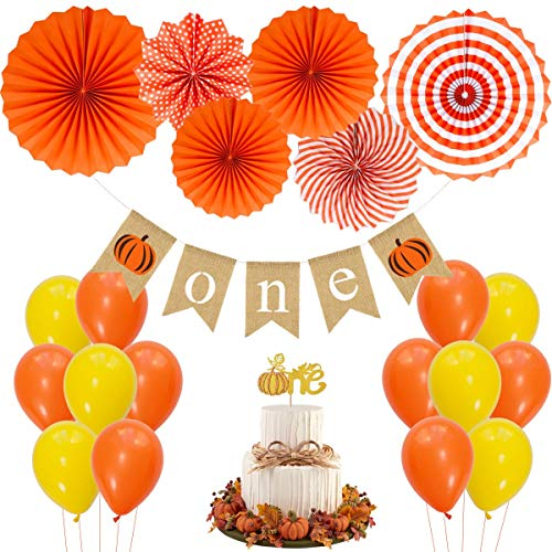 JOYMEMO Little Pumpkin First Birthday Decorations, 1st Cake Topper, Hanging Paper Fans, One Bunting Banner Birthday Party Supplies Baby Shower