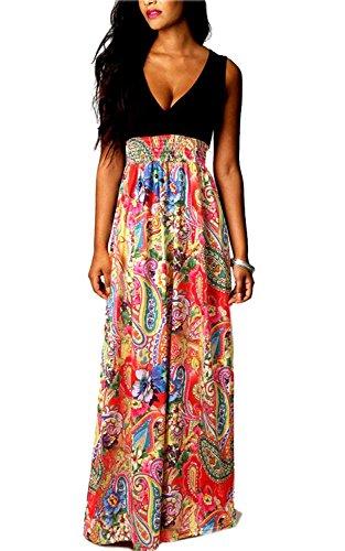 V Vestido Vintage Verano Cintura Impresa Vestidos Fashion Playa Largos Mujer Sin Fiesta Rojo Vestido Coctel Mangas Largos De Alto Elegantes Fiestas Largo Flores Cuello Line A Vestidos qTAPTw