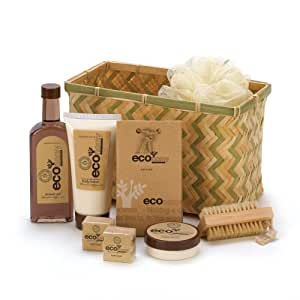 Eco Deluxe Bath Body Gift Basket Lotion Cream Brush Set