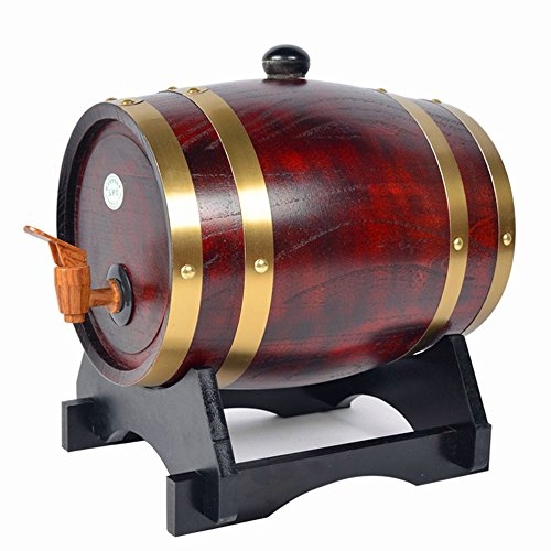 Bourbon Barrel Beer - Oak Barrel, Dream_light Vintage Wood Oak Timber Barrel For Storage or Aging Wine Whiskey Beer Rum Bourbon Tequila, Vintage Style Tabletop Wine Barware Wine Barrel Home Decor (Retro Color, 1.5L)