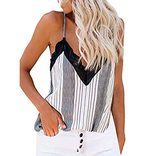 (Witspace Womens Floral Print Crochet Lace Tank Vest Tops Sleeveless Blouse Casual Tunic White)
